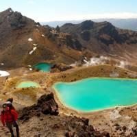 Admiring the vivid Emerald Lakes on the Tongariro Crossing