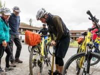 Guides making sure our bikes are ready to ride the trails |  <i>Lachlan Gardiner</i>