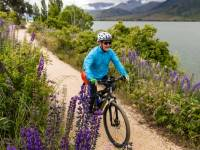 Cycling lakeside on the Alps to Ocean trail |  <i>Lachlan Gardiner</i>