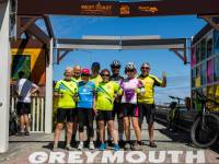 Celebratiions at the finish line in Greymouth |  <i>Lachlan Gardiner</i>